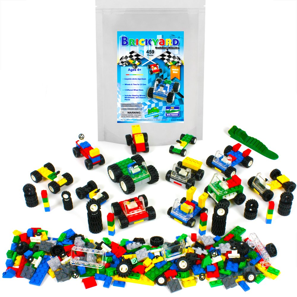 Wheels, Tires, and Axles - 459 Pieces Building Bricks Compatible Set by Brickyard Building Blocks - Includes Steering Wheels, Windshields, and Colorful Brick Building Chassis Pieces (459 pcs) Review
