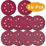 Paxcoo 76 Pcs 8 Holes Sanding Discs, 5 Inch Hook and Loop include 40/60/80/100/120/180/240/320/400/800Grit Sandpaper for Random Orbital Sander