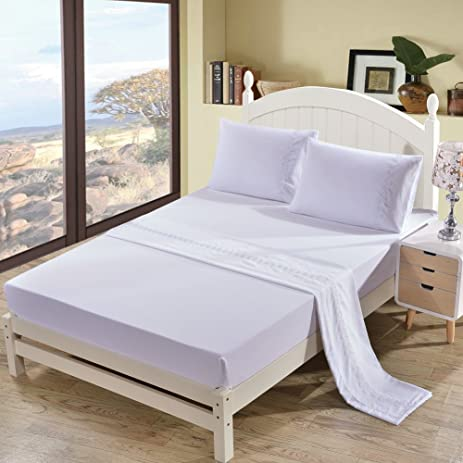 Superior DuShow White Solid Color Brushed Polyester Bed Sheets Wrinkle Free, Fade  Free, Stain Resistant