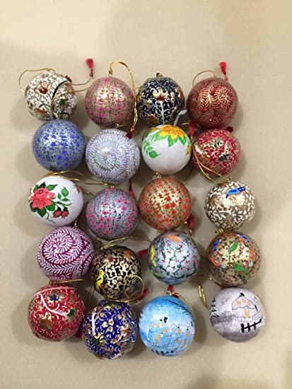 Paper Mache Christmas Ornament.Kashmiri Paper Mache Christmas Ball Ornaments Shatterproof Christmas Decorations Tree Balls Small For Holiday Party Decoration Tree Ornaments Hooks