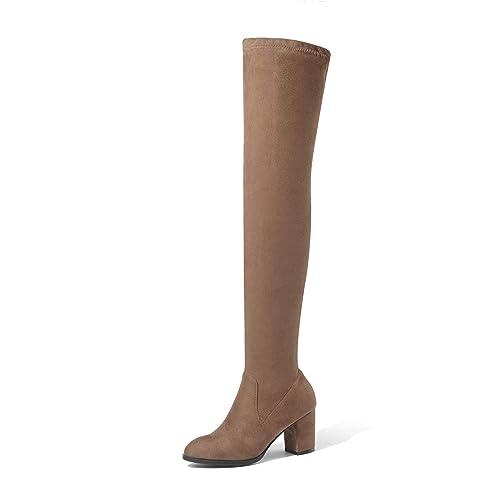 Botines de Gamuza de Mujer con tacón Alto Botas Altas de Rodilla con elástico: Amazon.es: Zapatos y complementos