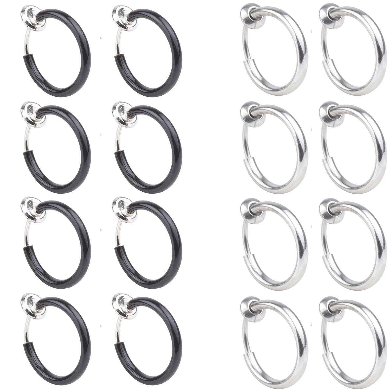 T'S 8-16PCS Surgical Steel Non-Piercing Fake Clip On Earrings Body Jewelry Hoop Lip Ear Rings Piercing 10mm That' s Us