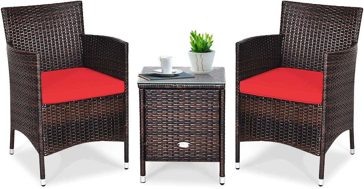 Tangkula Patio Furniture Set 3 Piece, Outdoor Wicker Rattan Conversation Set with Coffee Table, Chairs & Thick Cushions, Suitable for Patio Garden Lawn Backyard Pool (Red)