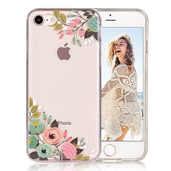 release date 79977 739e8 COSANO iPhone 8 case, for iPhone 7 case girls Floral Clear Design soft slim  Fit [Hard PC Back + Shock Absorbing Soft Bumper] Transparent Protective ...