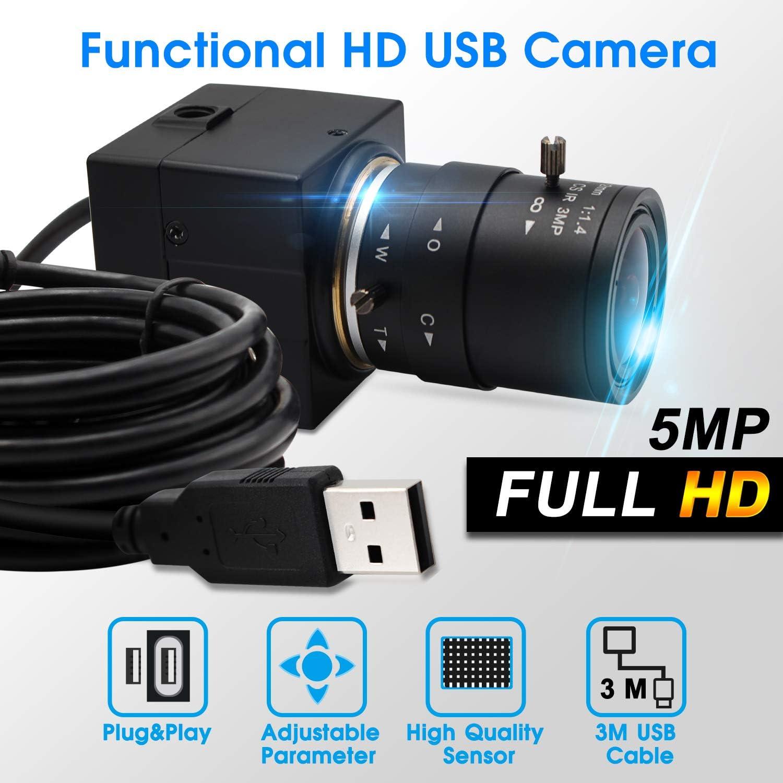 Conference Camera Support Most OS,Plug/&Play,OTG 2.0 2.8-12mm Varifocal Lens Webcam 5MP USB Camera HD 2592X1944 15fps USB with Camera Aptina Sensor Webcamera with Aluminum Mini Case Focus Adjustable