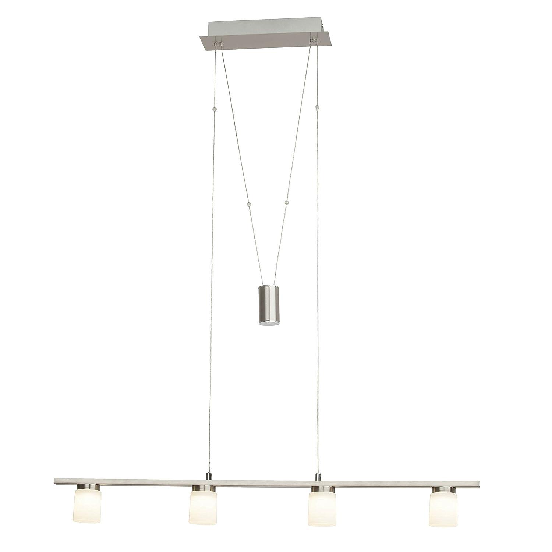 Brilliant Betsy LED Pendelleuchte Balken 4 flg 90cm höhenverstellbar eisen weiß Glas 1440 Lumen, LED integriert
