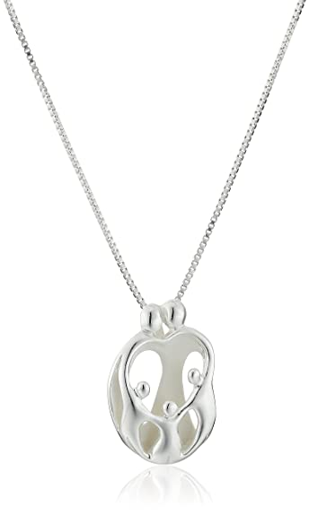 Sterling silverloving family parents with three children pendant necklace 18 sterling silverquotloving familyquot parents with three children pendant necklace aloadofball Images