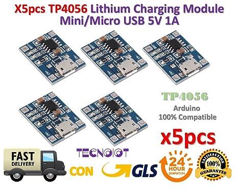 TECNOIOT 5pcs TP4056 1A 5V Lithium Battery Charging Module Mini ...