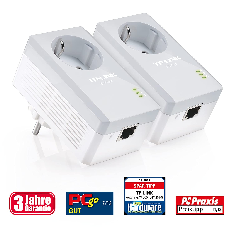 TP-Link TL-PA4010PKIT AV500 Powerline Netzwerkadapter (500Mbit/s, 1 Port, Steckdose, energiesparend, Plug & Play, kompatibel mit Adaptern anderer Marken, 2er Set) weiß