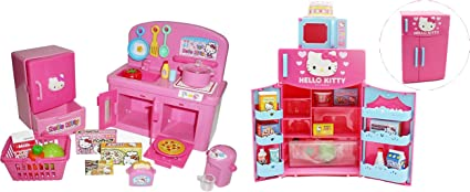 Amazon Com Hello Kitty Kitchen And Refrigerator Sets Bundle Of 2 Everything Needed For Cooking Play Japan Import Toys Games