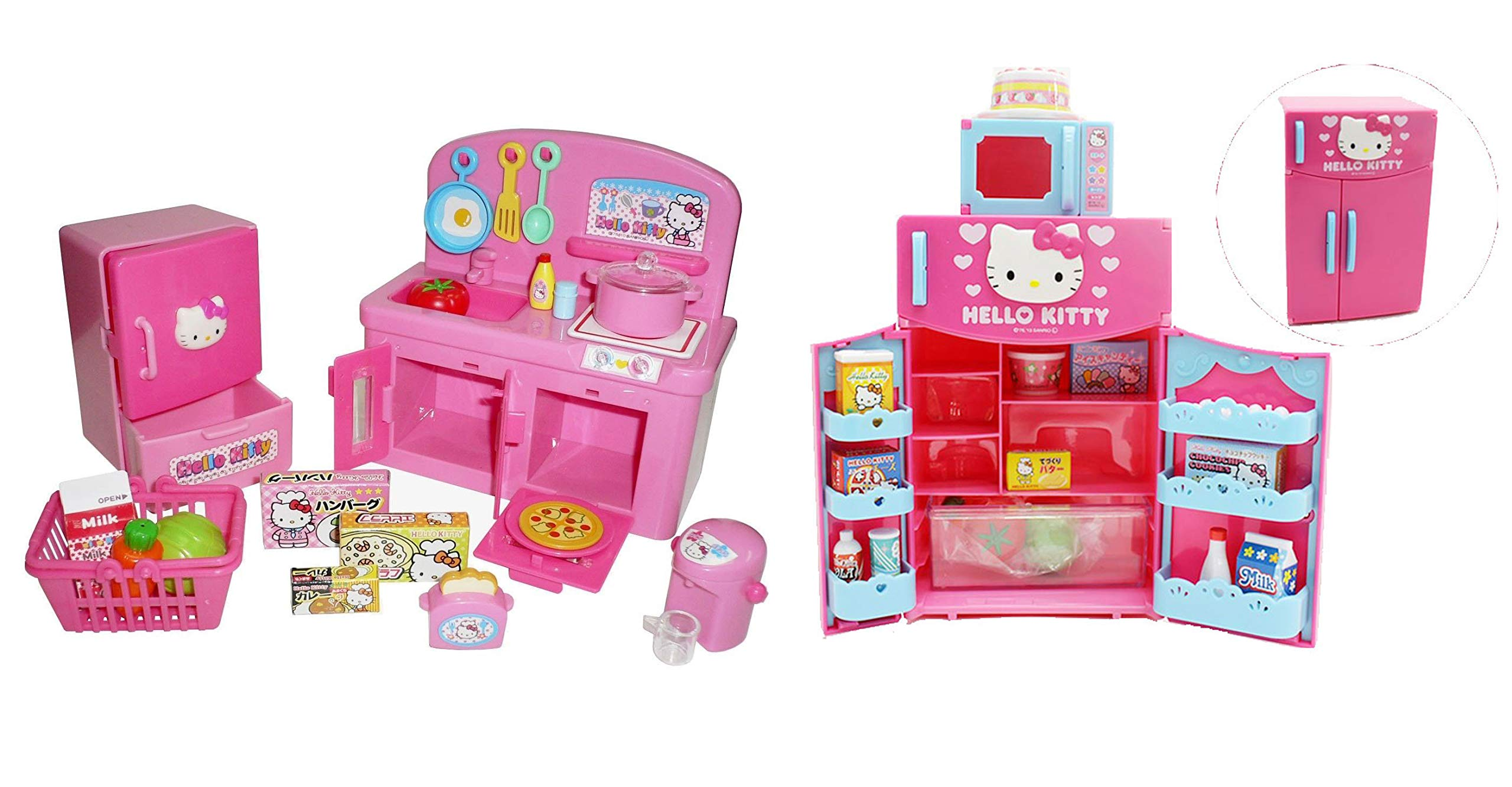 Hello Kitty Kitchen and Refrigerator Sets Sold Together - Everything Needed for Cooking Play by Hello Kitty