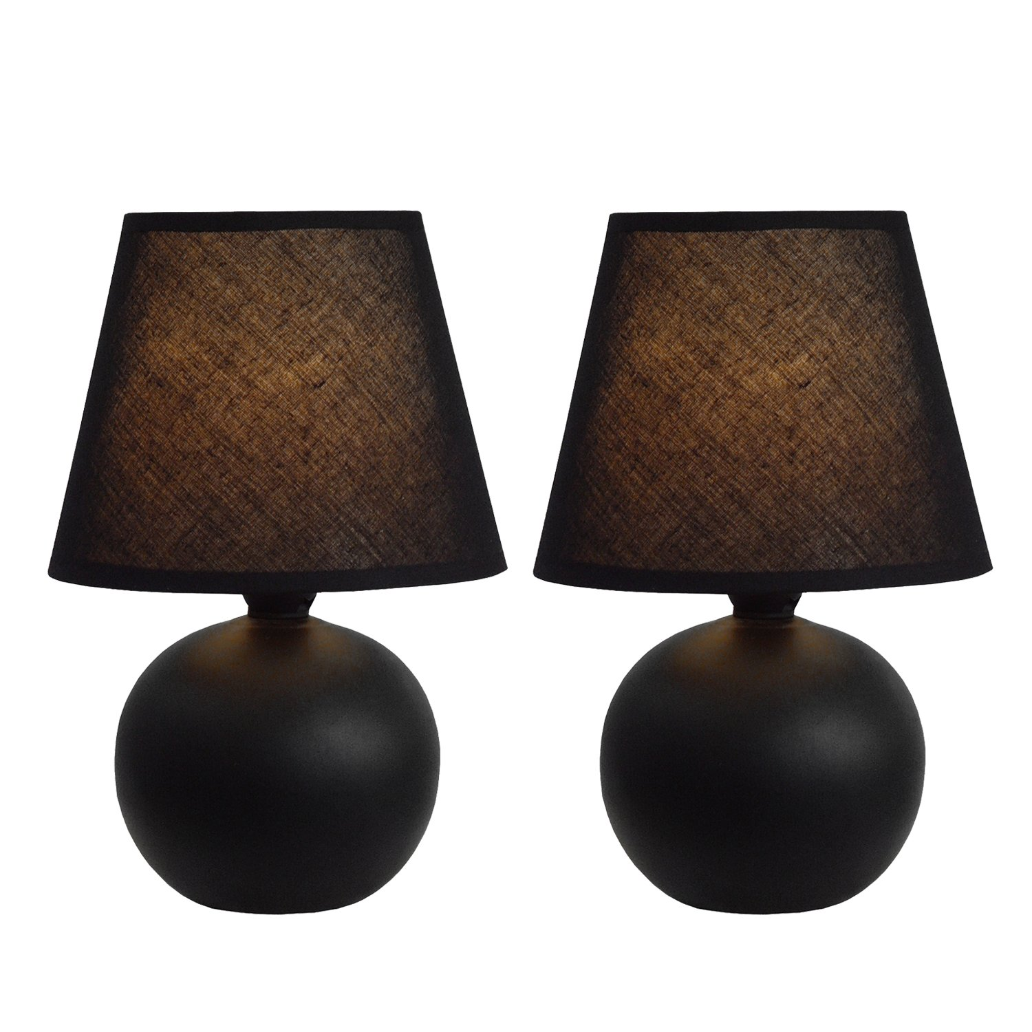 Simple Designs Home LT2008-BLK-2PK Mini Ceramic Globe Table Lamp 2 Pack Set, 5.51'' x 5.51'' x 8.66'', Black by Simple Designs Home