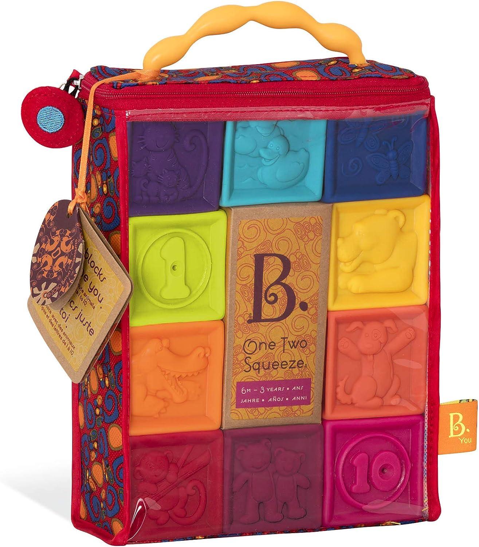 B. Toys – One Two Squeeze Blocks – Bloques de construcción para niños – Juguetes educativos para bebés de 6 Meses en adelante, con números, Formas, Animales y Texturas – 10 Bloques Suaves apilables