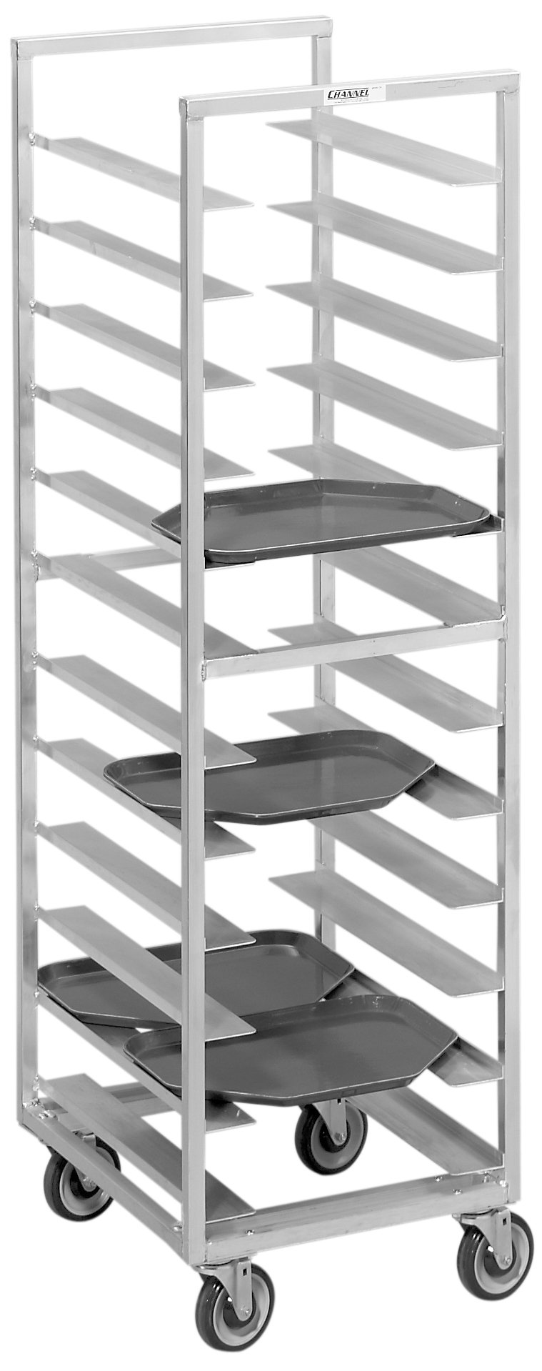 Channel Manufacturing T437A 40 Tray Bottom Load Aluminum Trapezoidal Cafeteria Tray Rack - Assembled