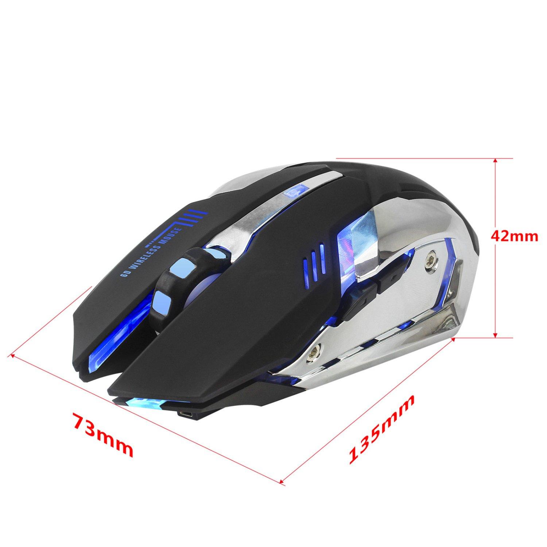 Recargable 2.4Ghz Rat/ón para Gamer Inal/ámbrico con 7 Colores Retroiluminado bater/ía de litio de 600 Mah