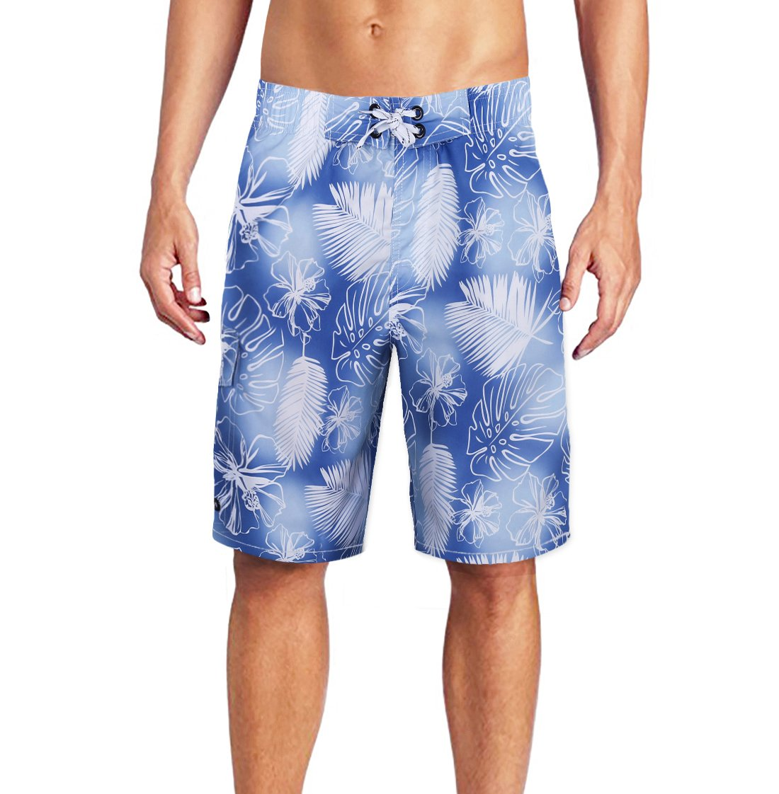 ELETOP Men's Swim Trunks Quick Dry Board Shorts with Meshlining and Cargo Pocket Length at The Knee