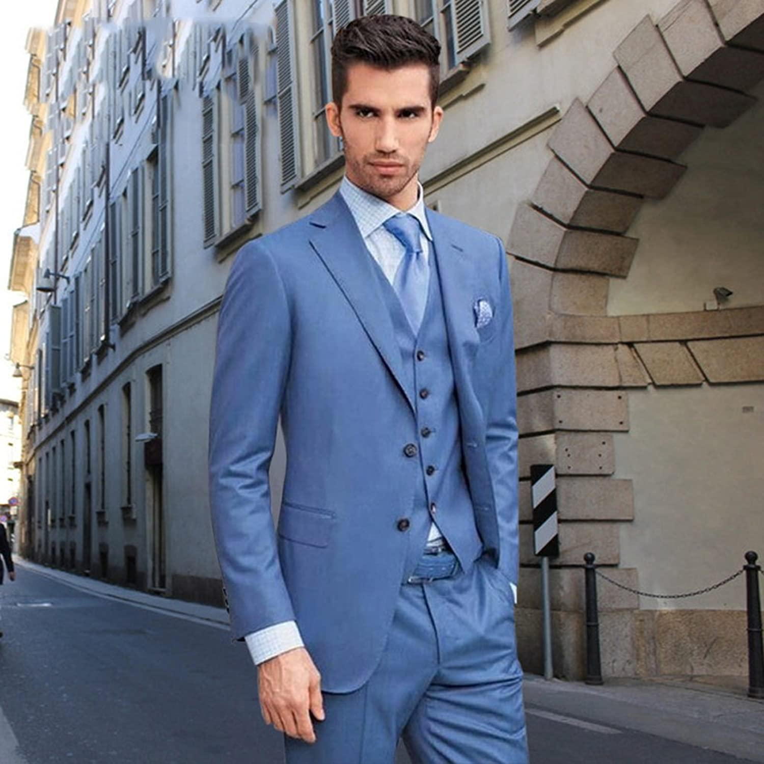 BOwith Notched Lapel Mens Suits Wedding Groom Tuxedos Groomsmen Mens ...