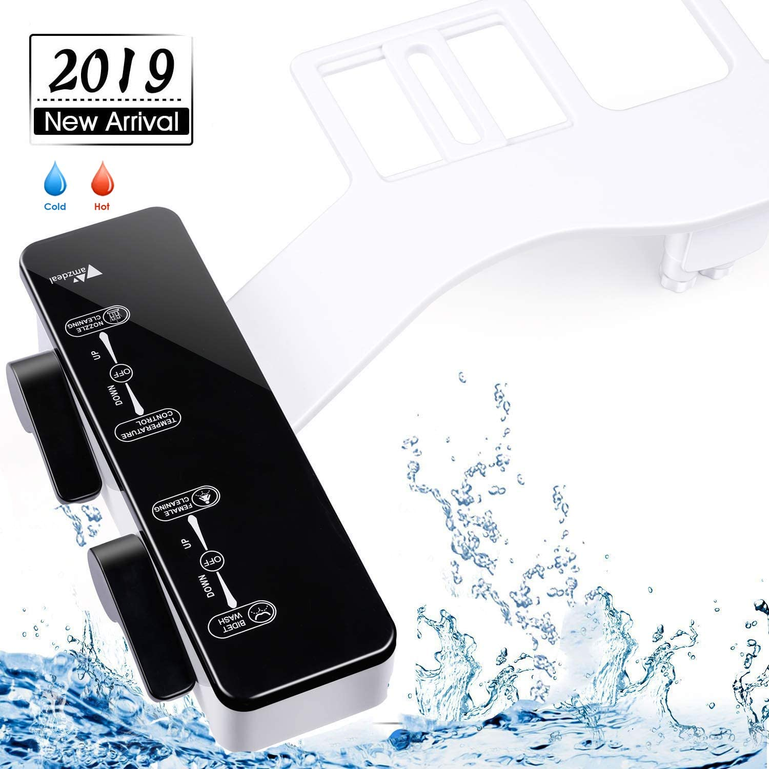 amzdeal Bidet, Hot and Cold Water Bidet Attachment with Dual Self-Cleaning Nozzle(Frontal & Rear/Feminine Wash), Fresh Water Spray Bidet for Toilet, Ultra Thin, Non-Electric, Water Pressure Control