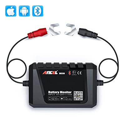 ANCEL BM300 Bluetooth Battery Monitor, 12V Battery Tester, Automotive Charging Cranking System Test for All 12 Volts Vehicles Boats Motorcycles SUVs: Automotive