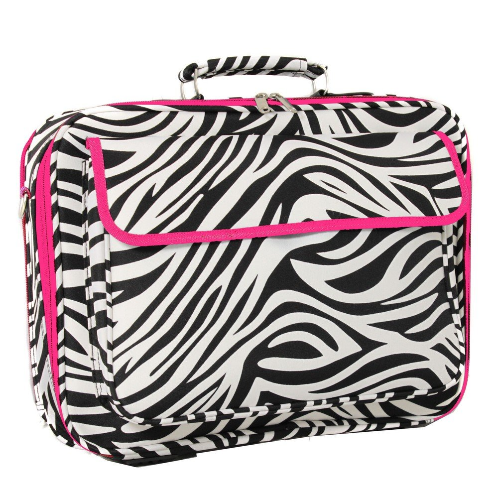 World Traveler 17 Inch Laptop Computer Case, Pink Trim Zebra, One Size