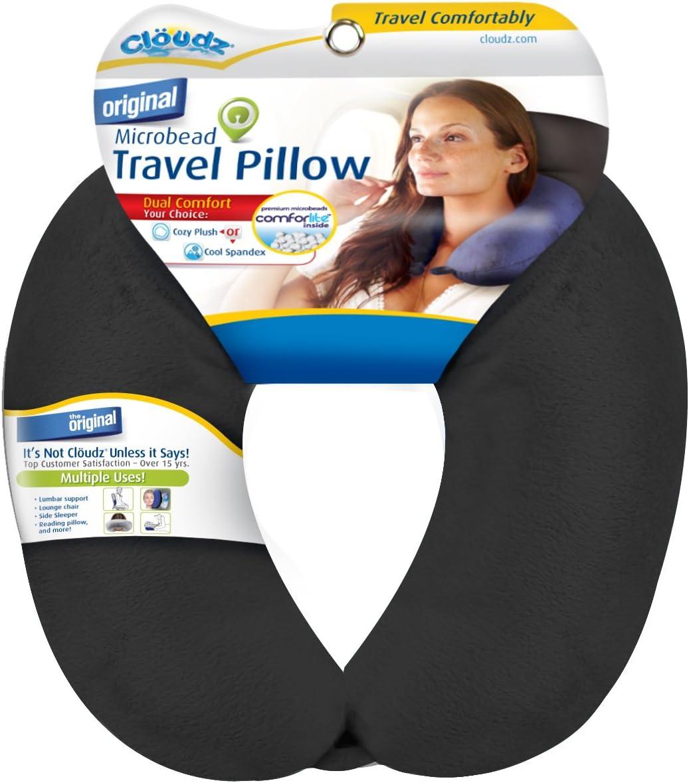 Cloudz Microbead Travel Neck Pillow - Black: Home & Kitchen
