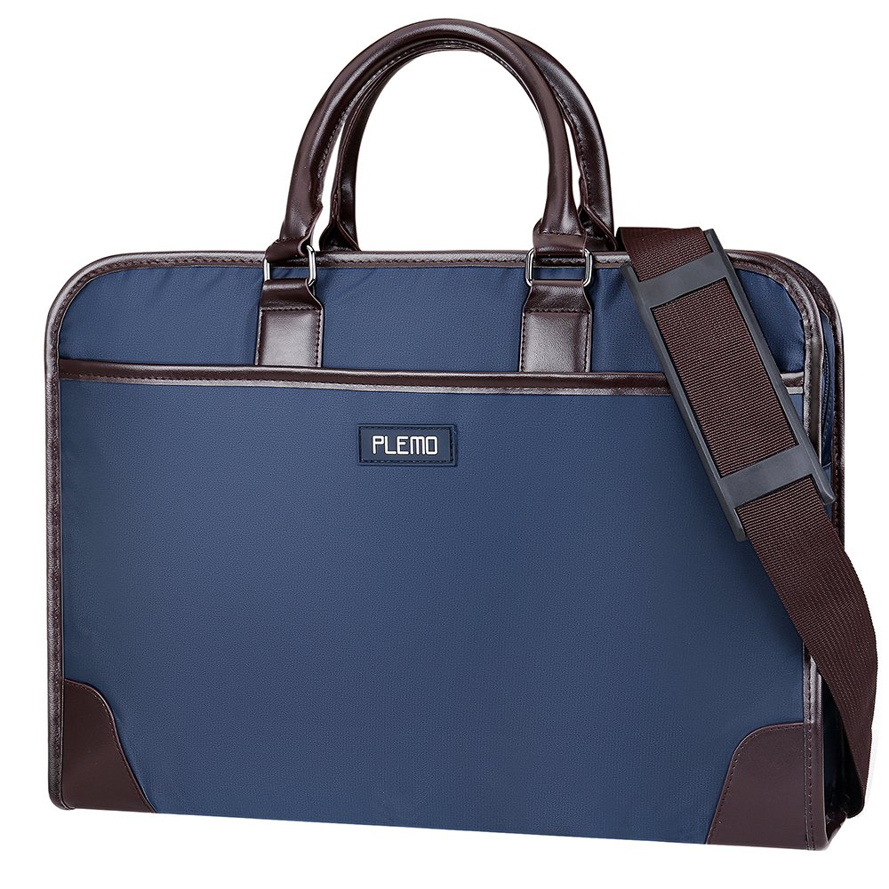Plemo Nylon Water Repellent Business Bag Shoulder Bag with Multiple Storage Compartments Fits 13 15.6 Laptop Blue Brown