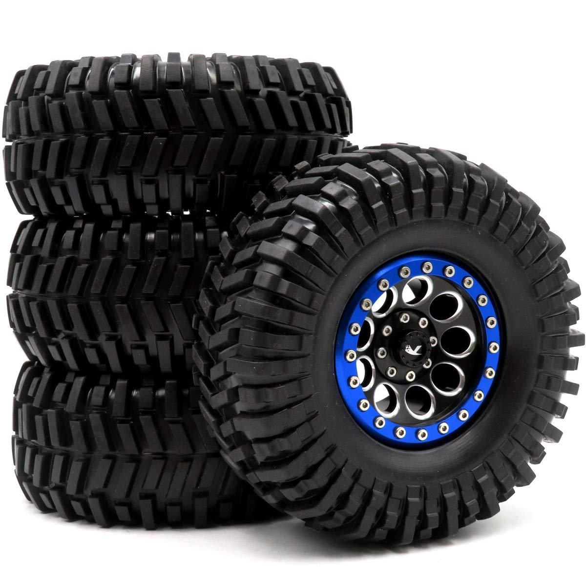 hobbysoul 4pcs RC Crawler 2.2 Mud Terrain Tires Tyres Sticky Height:125mm & Aluminum Alloy 2.2 Beadlock Wheels Rims Hex 12mm