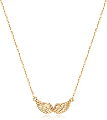 Amazon Com Gold Angel Wings Pendant Necklace 14k Gold Plated Cute Tiny Guardian Angel Dainty Elegant Necklace For Women Jewelry