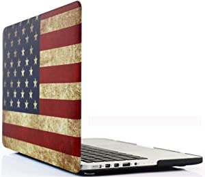 Old MacBook Pro 15 Inch Case A1398 (2015-2012), iZi Way US Patriotic Rubber Coated Hard Shell Case Cover for Apple Previous Mac Pro 15 with Retina Display (NO CD ROM) - Retro American Flag