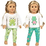 Ecore Fun 2 Sets 16-18 Inch Doll Clothes Pajamas Outfits for American 18 Inch Girl Doll, Generation Doll - 2 Pcs Tops…