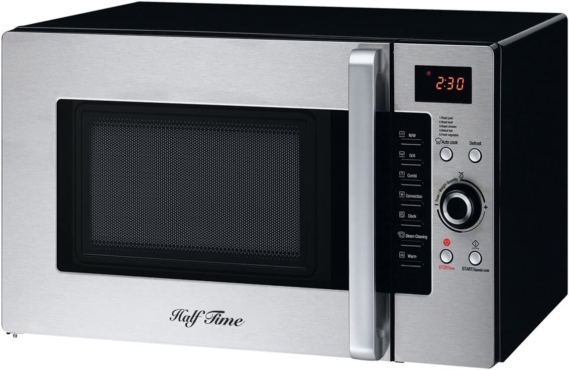 Half Time Convection Microwave Oven, Bake, Brown, Roast in Half the Time, Countertop Stainless Steel Black. 2 Year Manufacturer s Warranty Included.
