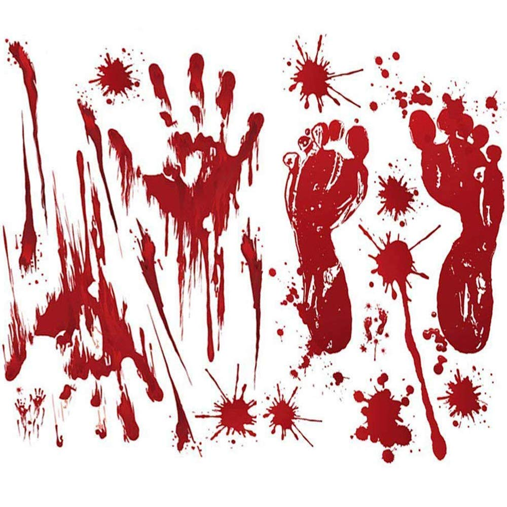 Arfun 80PCS Halloween Decorations Bloody Footprints & Handprints Floor Clings Window Decals Stickers for Halloween Vampire Zombie Party