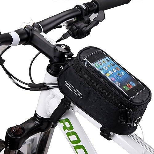 DCCN Fahrradtasche Fahrrad Oberrohrtasche für Mountain Bike (passend bis zu 5,5 Zoll) mit klaren PVC-Schirm