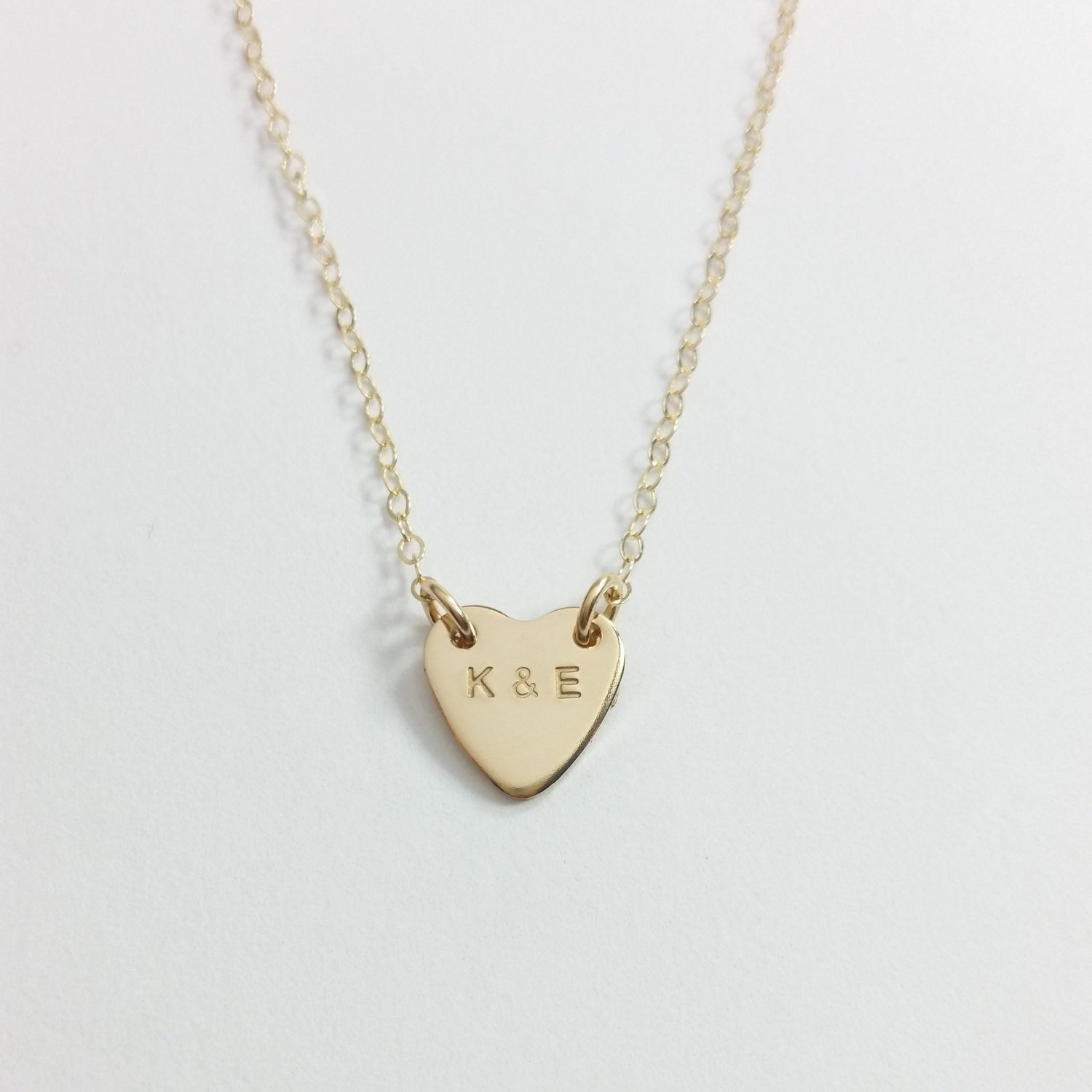 Heart Necklace - Initials necklace, Valentine's day gift, anniversary necklace, rose gold-gold filled-sterling silver, dainty necklace Valentine' s day gift