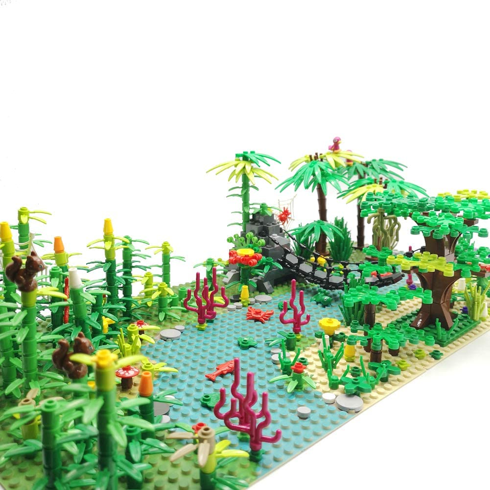 SPRITE WORLD Rainforest Building Blocks Huge Plants Pack Tree Flowers Bricks Toy Accessories Garden Jungle Building Kit( with 2 Base Plates)