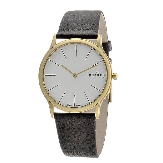Skagen Designs UK 858XLGLD - Reloj analógico de caballero de cuarzo con correa de piel marrón: Amazon.es: Relojes