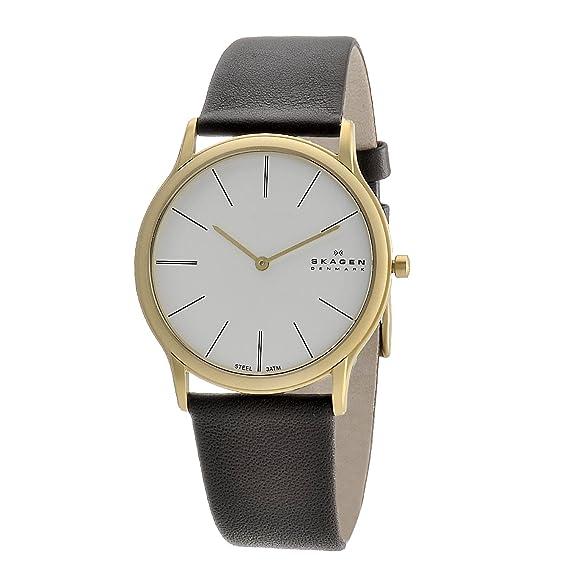 Skagen Designs UK 858XLGLD - Reloj analógico de caballero de cuarzo con correa de piel marrón