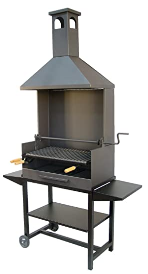 Imex El Zorro 71531 - Barbacoa chimenea con ruedas, elevador, parrilla inox y bandejas metálicas: Amazon.es: Jardín