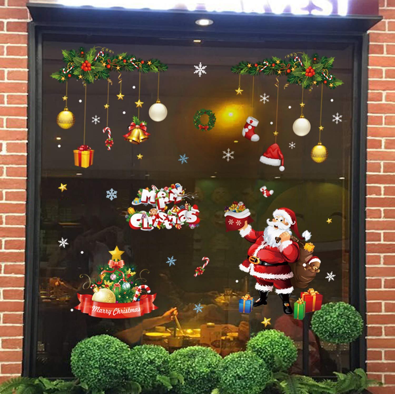 Natale Vetrofanie Rimovibile Adesivi per finestre con fiocchi Babbo Natale neve albero di Natale Decorazioni per Vetro Finestra la casa fai da te Vetrofanie per Natale Capodanno (4 fogli) Tebrun