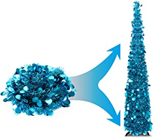 Joy-Leo 5 Feet Blue Teal Sequin Pop Up Tinsel Christmas Tree, Easy to Assemble and Store, for Small Spaces Apartment Fireplace Party Home Office Store Classroom Xmas Decorations