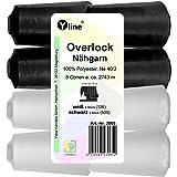 Yline Set de 8 bobinas Overlock – Hilo de coser, blanco y negro, 2743 m, NE 40/2, 100% poliéster, hilo para máquina de…
