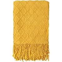 Genfien Manta de Punto con Flecos Acrílico Mantas para Cama Sofá Grande Suave Cálida Decorativa Largo Blanket Manta con…