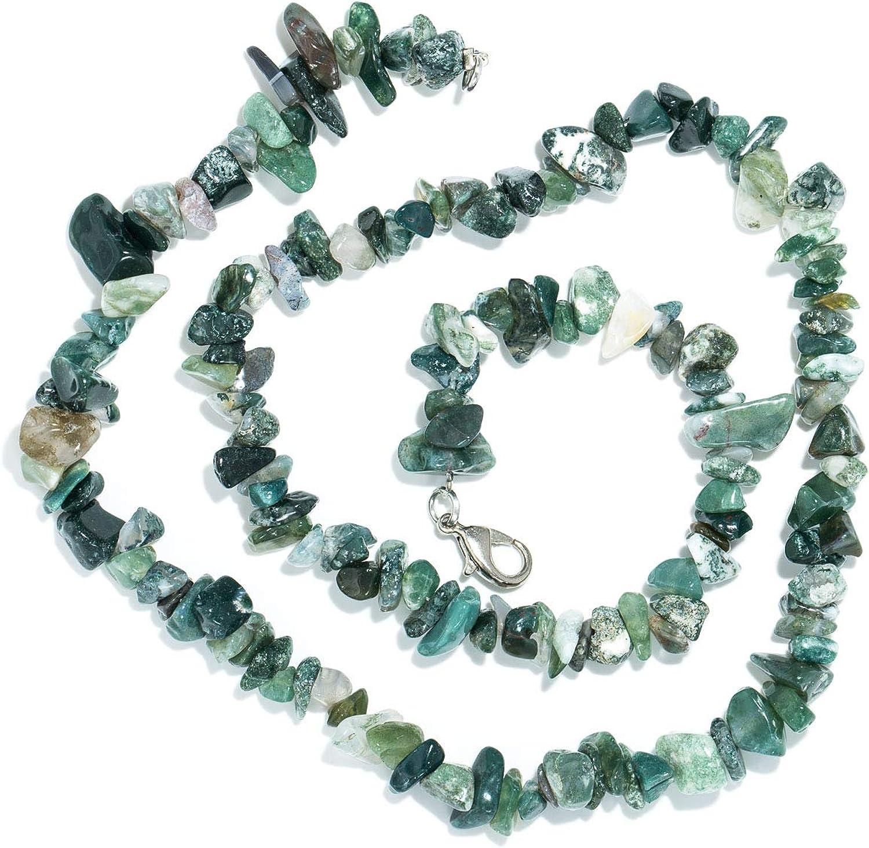 Taddart Minerals – Collar de Piedra Preciosa Natural de ágata de Musgo Verde con 45 cm de Longitud – Hecho a Mano