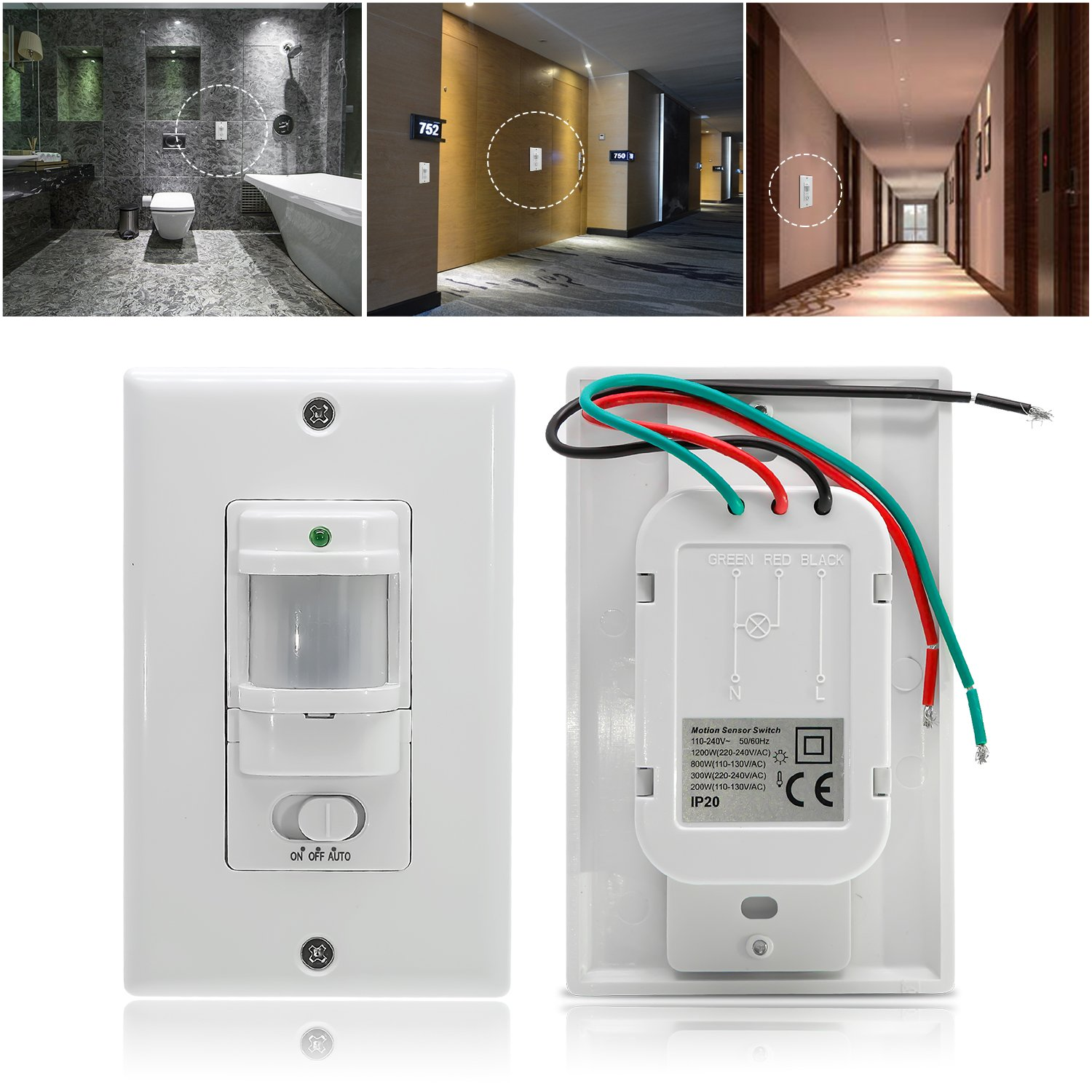 Sensky Bs033c Motion Sensor Light Switch Occupancy Case 220 Wiring Diagram For Corridor And Staircase Neutral Wire Required Industrial Scientific