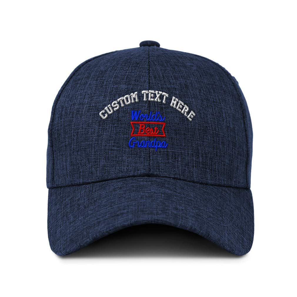 Custom Baseball Cap Worlds Best Grandpa Red Embroidery Acrylic Strap Closure
