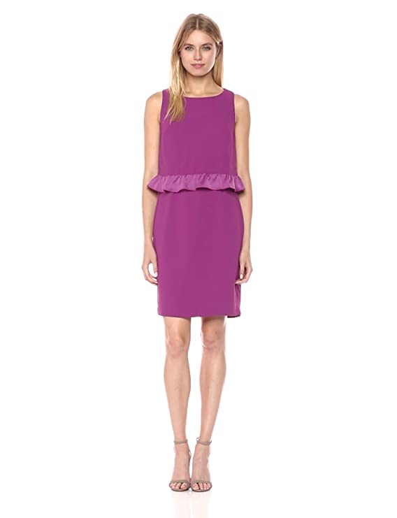 Amazon.com: Trina Turk Womens Tieges Ruffle Popover Crepe Dress: Clothing