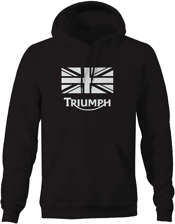 XLarge Triumph Vintage Motorcycle Logod Black Hooded Sweatshirt