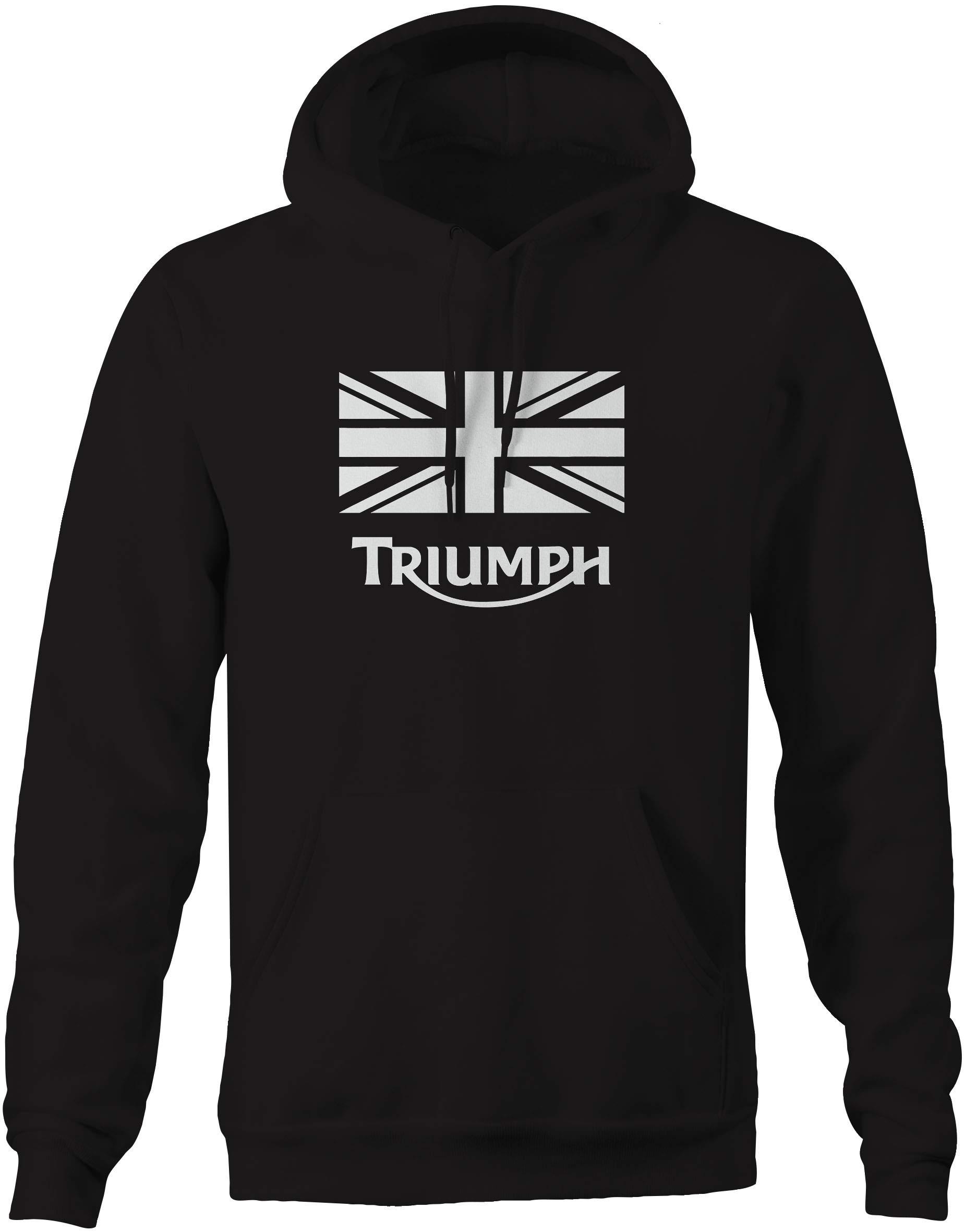 Triumph Vintage Motorcycle Logo'd Black Hooded Sweatshirt - 3XL