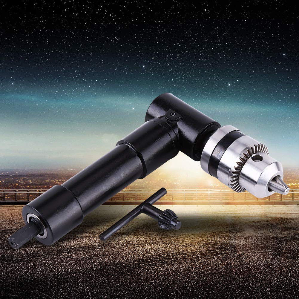 Samfox Right Angle 8mm Hex Shank Drill Adapter 90 Degrees Attachment Extension Drilling Tool Right Angle Drill Adapter