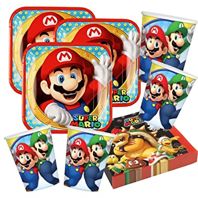 Juego de accesorios de fiesta super Mario Nintendo, 52 piezas: Juguetes y juegos